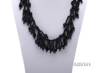 6-10mm black round and drop shape agate necklace