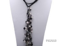 9mm white and black freshwater pearl with white crystal and black agate necklace