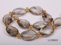 8.5mm Citrine Beads and 18x25mm Smoky Quartz Necklace