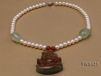 Natural White Freshwater Pearl with Natural Brown Unique Pendant Necklace