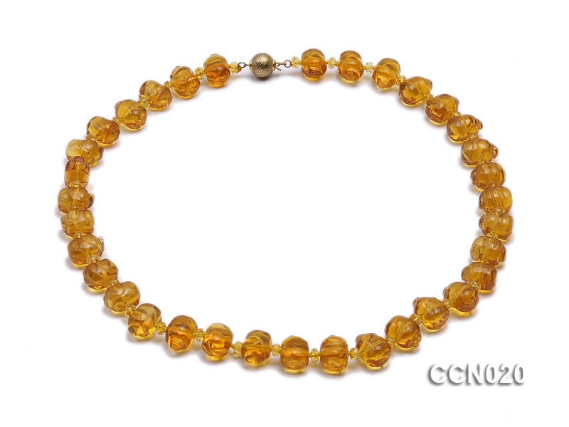 Pig-shaped Citrine and Irregular Faceted Citrine Beads Necklace