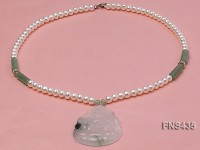 Natural White Flat Freshwater Pearl Necklace with Kwan-Yin-Shaped Jade Pendant