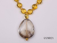 Button-shaped Citrine Beads Necklace with a smoky quartz pendant