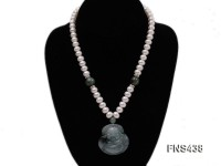natural white flat freshwater pearl necklace with natural jade and buddha-shaped emerald pendant