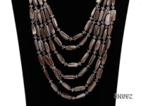 Six-strand 6x17mm Brown Shell Sticks and White Oval Shells Necklace