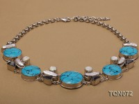 25x30mm blue round turquoise and shell and white irregular pearl necklace