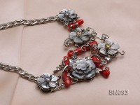 20-30mm White Flower-shaped Shells Necklace Dotted with Red Coral Sticks