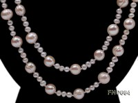 5-10mm natural white round freshwater pearl with big pearl necklace