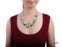 25-30mm Round Abalone Shell Pieces and Irregular Freshwater Pearl Necklace