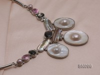 25×30-28x35mm Mabe Pearl Necklace Dotted with Freshwater Pearls and Zircon