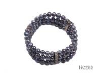 3 strand 6.5-7mm black freshwater pearl bracelet