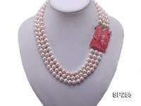 8mm pink round the south seashell pearl three-strand necklace