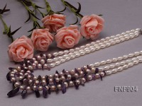 Three-strand White and Light-purple Freshwater Pearl and Purple Crystal Chips Necklace