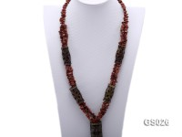 4x8mm Irregular Goldstone Necklace with Carved Jade Pillars