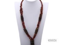 4x8mm Irregular Goldstone Necklace with Carved Jade Pillars