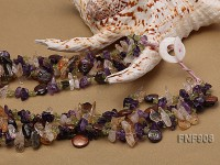 Three-strand Colorful Crystal Chips and Brown Button Pearl Necklace