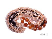 Freshwater Pearl, Faceted Agate Beads and Garnet Beads Necklace