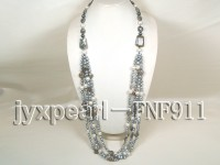 Freshwater Pearl, Seashell Pearl, Picasso Agate Beads and Faceted Crystal Necklace