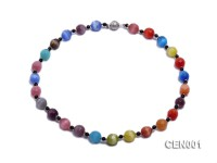 11.5mm Round Colorful Faceted Cat's Eye Beads Necklace