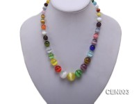 7-18mm Round Colorful Cat's Eye Beads Necklace