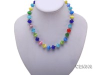 12mm Irregular Colorful Cat's Eye Beads Necklace