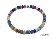 9.5mm Colorful Flat Faceted Cat's Eye Beads Necklace