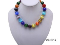 17mm Colorful Round Faceted Cat's Eye Beads Necklace