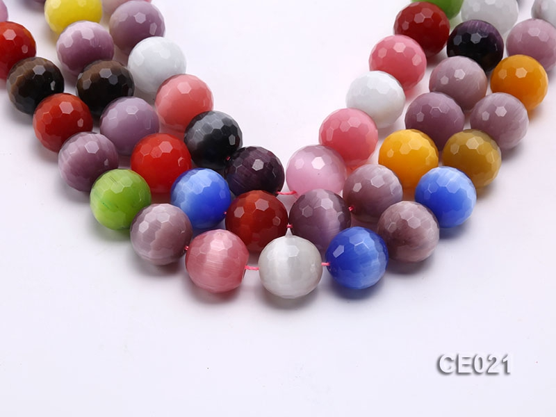 Wholesale 19mm Round Faceted Colorful Cat's Eye String