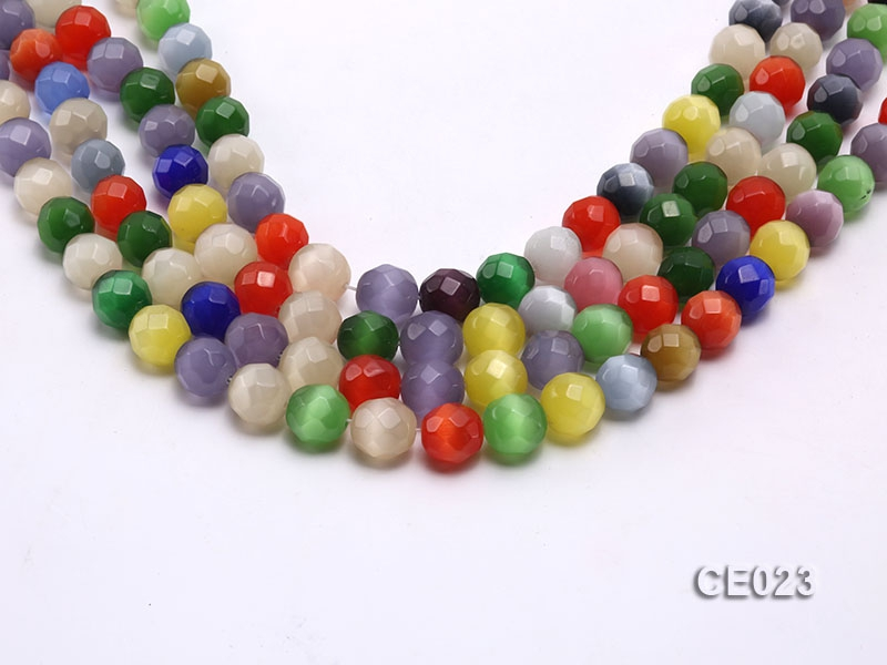 Wholesale 11mm Round Faceted Colorful Cat's Eye String