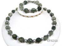 14mm Round Green Gemstone with Freshwater Pearl Necklace and Bracelet set