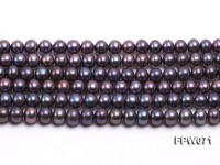Wholesale 6x7mm Black Flat Cultured Freshwater Pearl String