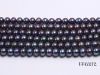 Wholesale 8x9mm Black Flat Cultured Freshwater Pearl String