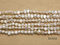 Wholesale 4x7mm Classic White Flat Freshwater Pearl String