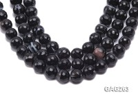 wholesale 14mm faceted black round agate strings