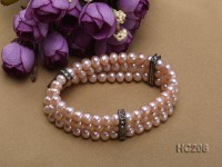 3 strand 6.5-7mm lavender freshwater pearl and zirconia bracelet