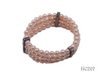 3 strand 6.5-7mm pink round freshwater pearl and zirconia bracelet