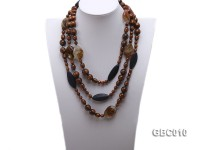 7mm, 13mm, 14mm Golden Coral, 9×11.5mm Oval Coral, 30x14mm Black Agate, 20x25mm Crystal Necklace