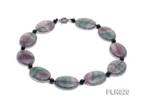 30x40mm Oval Fluorite Pieces and Round Black Agate Beads Necklace