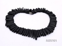 8-30mm black tooth shapes agate necklace