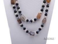 15x22mm natural color square agate and 12mm black flat agate with 9mm pearl necklace