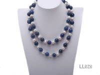 14mm Round Azure Blue Lapis Lazuli Beads & 13mm Freshwater Pearls Necklace