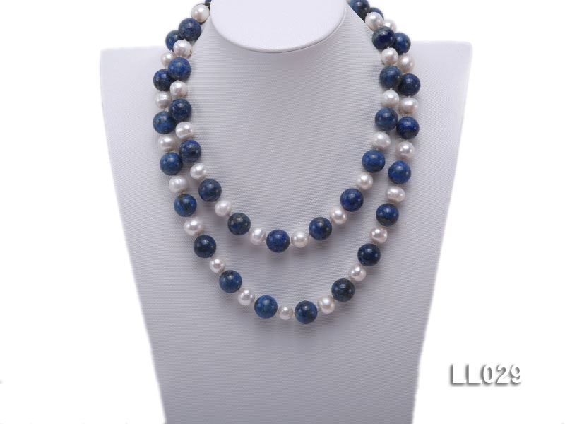 14mm Round Azure Blue Lapis Lazuli Beads & 13mm Freshwater Pearls Necklace