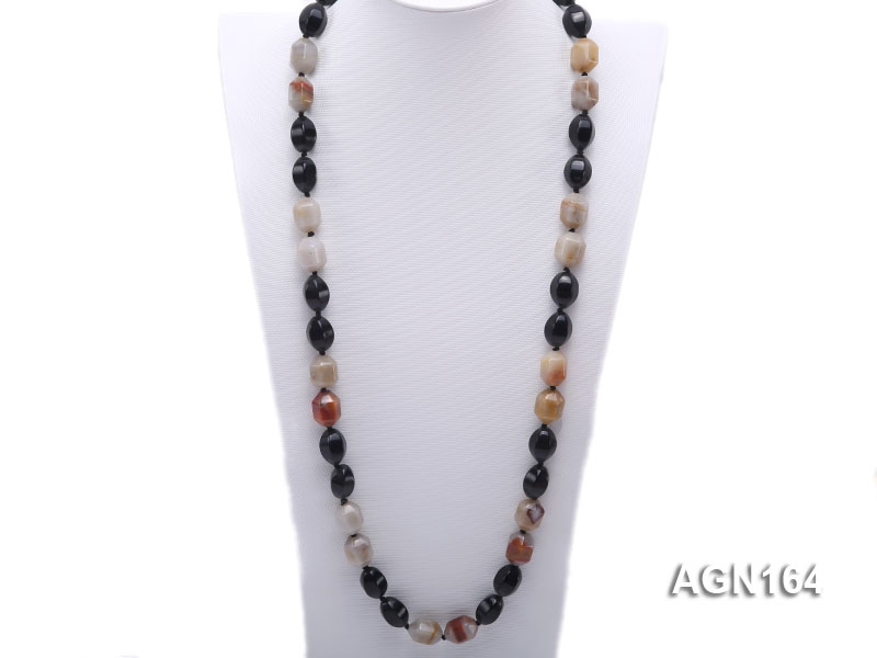 13x18mm multicolor shuttle-type agate necklace