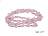 15x20mm Faceted Oval Rose Quartz and Pink Freshwater Pearl Necklace