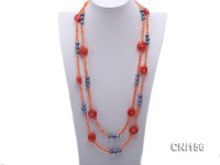18.5mm Orange Coral and Grey Freshwater Pearl Necklack