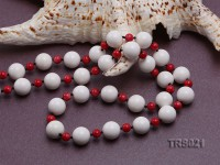 Round White Tridacna Beads and Red Coral Beads Necklace