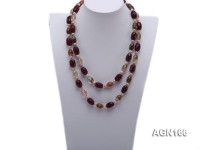 11.5×17.5mm colorful oval agate with white pearl necklace