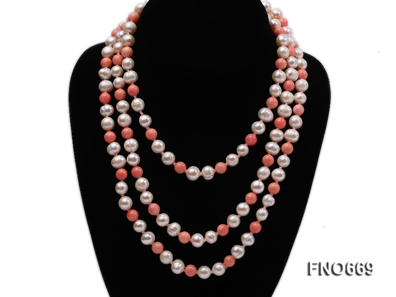 9.5mm natural white round freshwater pearl with pink coral beads necklace