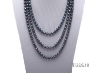 8mm blueish black round freshwater pearl necklace