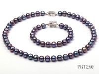 8mm Black Freshwater Pearl Necklace and Bracelet Set